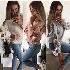 Autumn Winter Womens Designer Sweaters Solid Color Printed Crew Neck Hollow Out Bandage Tops Casual Female Clothing
