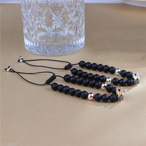 Cubic Zircon King Queen Crown Couple Charm Bracelet for Women Men Friendship 8mm Matte Black Stone Beads Woven Rope Bracelets Bangle Jewelry