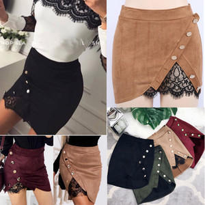 Femmes Dames Casual Slip Quotidien Jupe Vêtements Femmes Taille Haute Lace Up Suede Leather Pocket Pocket Preppy Court Mini Jupes