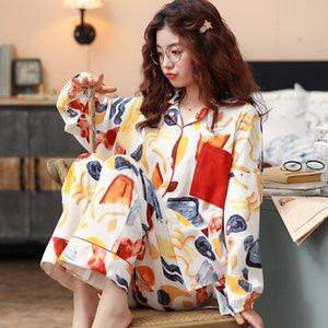 BZEL nuevo algodón Conjunto de pijama calidad de las mujeres ropa de dormir colorido Home Use Pijama Ropa holgada pijama Inicio Traje más el tamaño M-XXXL T200529