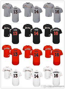 für Männer, Frauen, Jugend Marlins Jersey # 13 Marcell Ozuna 14 Martin Prado 16 Jose Fernandez orange Baseball-Shirts