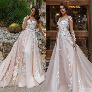 Hochzeitskleid Brautkleider Sheer Long Sleeves V-Ausschnitt Verzierte Spitze Gestickte Romantische Prinzessin Blush A Line Beach