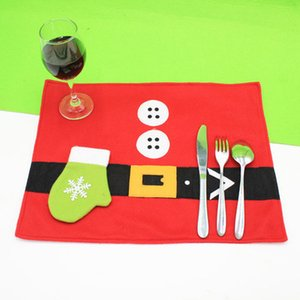 Handschuh Weihnachtsmatte Besteck Beutel stellt Neujahr Weihnachtsmann Geschenk Socken Weihnachtsabendtisch Weihnachtsdekoration Requisiten 2pcs / lot