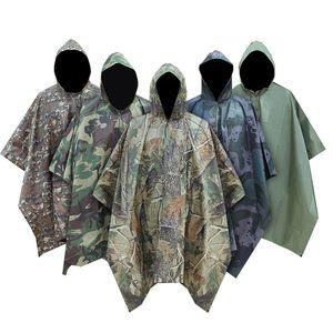 L'uomo militare impermeabile Camo Raincoat Pioggia impermeabile cappotto degli uomini Raincoat Donne Tenda dalla pioggia Moto pioggia Poncho T200622