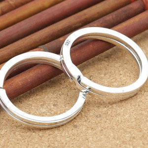925 Sterling Silver Round Keyring Key Ring Keychain Accessory Diy Jewelry Making Split Ring Key Chain Accessories with S925 Stamped