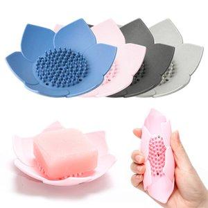 Esnek Silikon Tabaklar Lotus Çiçeği Duş Banyosu Tepsi Soap Box Sabunluk Depolama Drenaj Tutucu Koruyucu Banyo alet