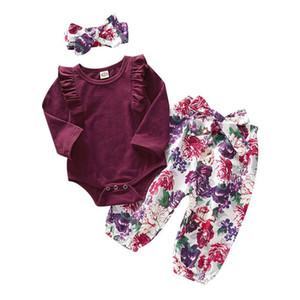 여자 의류 세트 아기 의상 키즈 주름 긴 소매 뛰어 돌아 다니는 사람은 + 꽃 무늬 팬츠 + Bowknot 헤드 밴드 3PCS / 세트 어린이 디자이너 의류 M524 탑