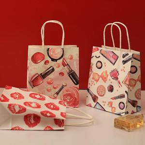 40pcs/1 많은 15x18x8cm 화장품은 패턴이 인쇄를 가진 종이 선물 가방 처리티 호의 웨딩 포장 저장 부대 XD23302