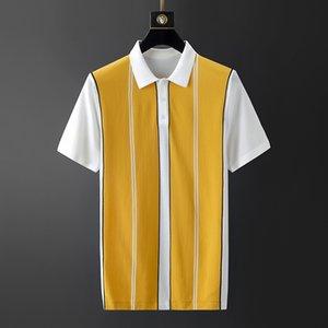 Muls Marque Hommes Shirt Homme d'été rayé pull en tricot Pull Homme Trun-down col respirant Hauts Gris Jaune