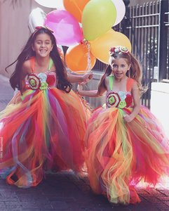 Mignon Coloré Arc En Ciel Fleur Fille Robes 2019 Spaghetti Une Ligne Filles Pageant Robe Parti Porter Des Enfants Communion Robes Sur Mesure