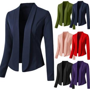 Suits Magro Womens Blazers Primavera Outono lapela Long Neck Mulher manga Tops cor sólida ocasional das senhoras Blazers