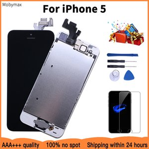 100% Brand New LCD Full Assembly For iPhone 5 Module with Digitizer Replacement & Home Button Front Camera+Protector Glass