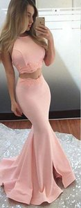 Elegant Light Coral 2 Pieces Prom Evening Dresses Mermaid Applique Satin Lace New Long Cheap Formal Pageant Celebrity Dress Cheap