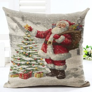 GZTZMY 45X45cm Natal Merry Christmas Decorations for Home Pillowcase Santa Claus Reindeer Linen Cover Cushion New Year Decor