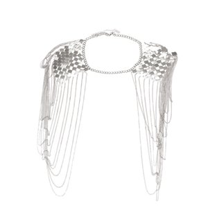 Vintage Punk Harness бикини тело Ссылка Epaulet плечо цепь ожерелье воротник оборванной кисточка Silver