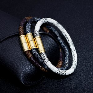 New Bohemian Style High Quality Stripe PU Leather Bracelet Cool Couple Lovers Gold Plated Magnetic Buckle Bracelet
