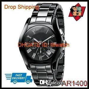 100% оригинальный японский механизм DROP SHIPPING новые любители керамический черный хронограф циферблат Кварцевые наручные часы AR1400 AR1401