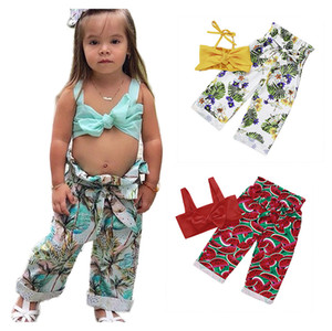 Completi per neonate estive Spallacci Pantaloni stampati con fiocco Pantaloni floreali Vita alta Set di abbigliamento estivo 1-5T
