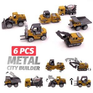 6 adet Alaşım Mini Mühendislik Araç Modeli 6in1 1:64 Metal Döküm Mühendislik Oyuncak Araç Araba Oyuncak Damperli Kamyon Forklift Ekskavatör T191218