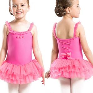 Abiti bambini di balletto di ballo senza maniche in pizzo pannelli esterni del tutu del pagliaccetto Baby Dress Sling Dancewear Estate Bambini vestiti 4 disegni all'ingrosso WZW-YW2953