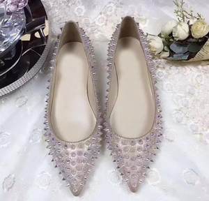Ladies Red Bottom Luxury Goldoflat Flat Sexy Pointed Toe Spikes Genuine Leather Ballerinas Shoes Studs Party Dress Wedding 35-42