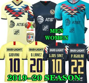 G. Dos Santos 19 20 lar América Amarelo camisa de futebol R.SAMBUEZA P.AGUILAR 2019 2020 afastado México clube terceira Futebol verde shirt MULHERES