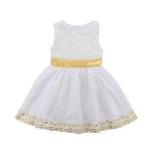 Kleinkind Kind Baby-Mädchen-Blumen-Kleid-Hochzeit-Geburtstags-Party Pailletten ärmellose Tüll Formal Prinzessin-Kleid-Baby-6M-4T