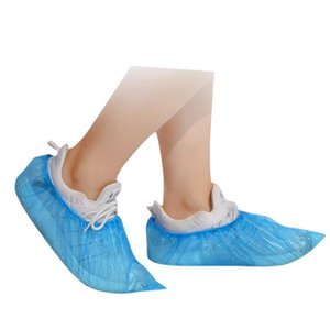100pcs Disposable Shoe Covers Plastic Thick Outdoor Rainy Day Carpet Cleaning Shoe Cover Blue Waterproof Covers Protect