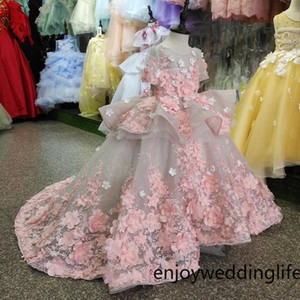 Imagen real New Flower Girls Dress Baby Girl Ropa Encaje Flores 3D Applique Puffy Tulle Kids Birthday Gown Hecho a medida