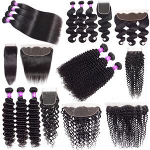 Capelli 9A brasiliana poco costosa umani del tessuto bundle con chiusura dell'onda profonda riccio crespo dei capelli di estensioni dei capelli Virgin Bundle Con 13x4 Pizzo frontale