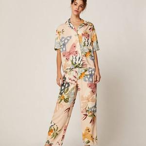 QWEEK Пижама для лета женщин Pajama Femme Котон Pijamas Печать Lounge Wear 2020 Two Piece Set Спящий Одежда ночнушке