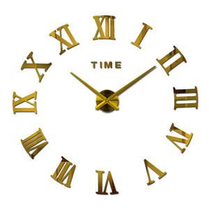 Art Métal Horloge murale réel Accueil Décorations Design moderne Horloge murale Horloges Montre 3D Horloge Diy acrylique Miroir Autocollants X10