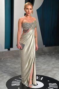 Scarlett Johansson lantejoulas Prom Oscars Side Dividir Evening Vestidos Plus Size Especial Ocasião Partido Vestido de festa Red Carpet Dress