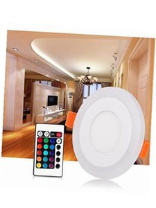 6+3W RGB 16Colour Changing Ring LED Bulb White Lighting Ceiling Lamp Panel Down Light with 24K remote