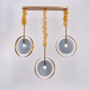 Camera da letto moderna ciondolo comodino luce sala da pranzo cucina isola rettangolo hanglamp blu vetro lampadari MYY