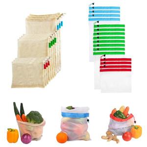Yeniden kullanılabilir pamuk bakkal alışveriş üretmek torbaları çevre dostu polyester meyve sebze torbaları eli totes ev depolama file