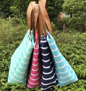Frauen Gestreifte Schultertasche Canvas-böhmische Art Toten Handtaschen weibliches Einkaufen Big Bags Lässig Messenger Bag-Speicher-Beutel GGA3023