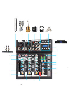 GH-4 Portable Mini 4 Channels Digital Audio Interface Mixer Console with USB Bluetooth for Home Studio PC Computer Laptop