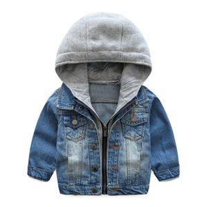 Baby Boy Roupas Crianças Meninos Denim Jacket da criança Jeans Casacos Crianças Casacos com capuz Outono Inverno roupa do bebê azul do vintage DW4468