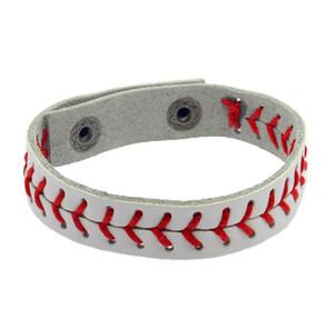 Moda spor serisi takı voleybol beyzbol deri kırmızı halat beyaz bilezik toptan