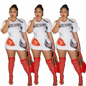 T-Shirts Weiß Tees Lässige Kleidung Frauen Sommer 3D-Druck-langes Shirt mit Rundhalsausschnitt Mode lose Sexy Female