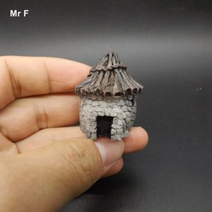 Vintage Stone House Cottage Models Decoration Resin Toy Kid Perceive Learning Game