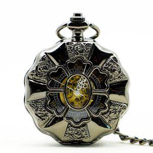 Full Steel Luminous Steampunk Vintage Hollow Analog Skeleton Hand Winding Mechanical Pocket Watch for Men Women PJX1141