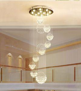 현대 샹들리에 대형 크리스탈 전등 로비 계단 계단 현관 로비 나선형 광택 천장 램프 플러시 탑재 계단 빛