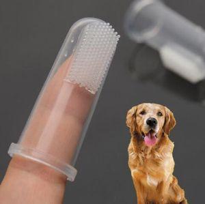 Cepillo de dientes del dedo El perro súper blando del perro casero cepillo mal aliento tártaro Útiles de limpieza para Perro Gato Mascota suministros de higiene de los dientes Cuidado YP389