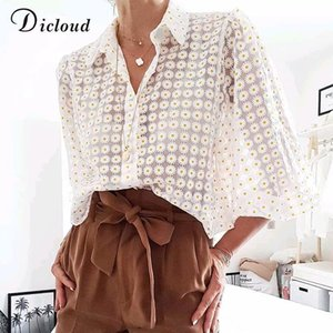 DICLOUD Elegant See Through Daisy Blouse Women Summer Autumn Nine Quarter Sleeve Fashion Ladies Shirt 2019 Sexy Beach Cover Up
