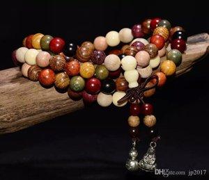 Fashion 108 Colorful Buddha Beaded Strands Wood Buddhist Prayer Beads Tibet Bracelet Mala Bangle Wrist Ornament Tibet Jewelery Free Shipping