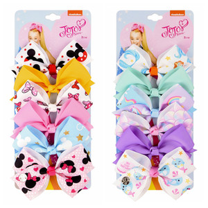 gli accessori dei capelli dei bambini jojo Siwa 5 pollici clip di capelli del tessuto dei bambini arco impostato bambino Hairbows Ragazza con le clip clip del fiore