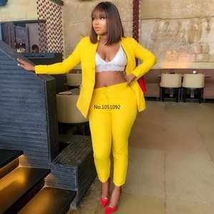 African Women Sets Solid Long Sleeve Blazer Jacket Pants Suits Office Lady Elegant 2 Piece Set Business Outfits Africa Clothing