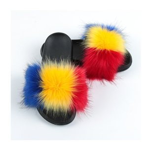 kid toddler faux fox raccoon striped fur slippers sandals summer girl child furry fluffy fuzzy outdoor contrast color striped